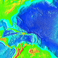 Illustration of a bathymetric map of the Caribbean