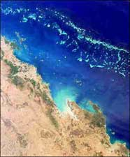 Satellite photograph of the Great Barrier Reef