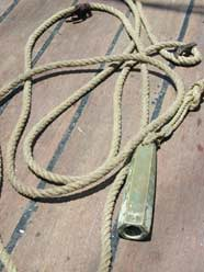 Photo of a lead line on the deck of a ship