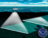 Graphic of multibeam sonar