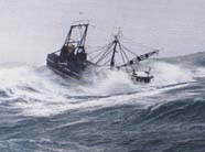 Image of fishing boat in rough seas