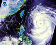 Image displaying satellite view of a typhoon
